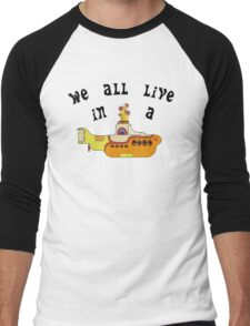Yellow Submarine The Beatles Song Lyrics 60s Rock Music Men's Baseball ¾ T-Shirt