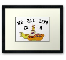 Yellow Submarine The Beatles Song Lyrics 60s Rock Music Framed Print