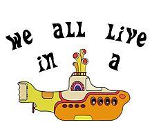 Yellow Submarine The Beatles Song Lyrics 60s Rock Music Photographic Print