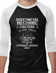 Sheetmetal mechanic caution flying tools & offensive language likely - T-shirts & Hoodies Men's Baseball ¾ T-Shirt