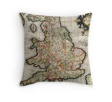 Vintage Map of England (1596) Throw Pillow