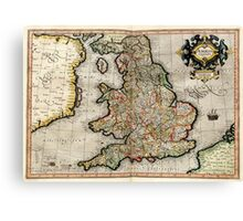Vintage Map of England (1596) Canvas Print