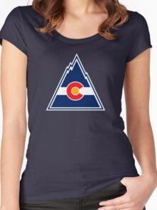 COLORADO ROCKIES HOCKEY RETRO Women's Fitted Scoop T-Shirt
