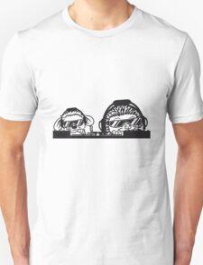 team paar duo auflegen mischpult platte party dj kopfhörer tanzen musik sonnenbrille cool club disko winken baby kugel süßer kleiner niedlicher igel  Unisex T-Shirt