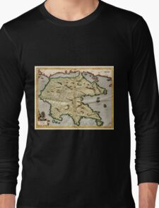Vintage Map of Greece (1596) Long Sleeve T-Shirt