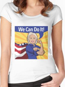 Hillary Clinton as Rosie the Riveter.  Women's Fitted Scoop T-Shirt