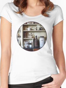 Mortar and Pestle and Bottles on Shelves Women's Fitted Scoop T-Shirt
