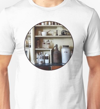 Mortar and Pestle and Bottles on Shelves Unisex T-Shirt