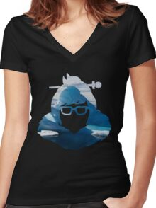 Mei Arctic Spray Women's Fitted V-Neck T-Shirt