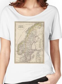 Vintage Map of Scandinavia (1857) Women's Relaxed Fit T-Shirt