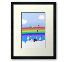 Rainbow Balloons - two lof bees Framed Print