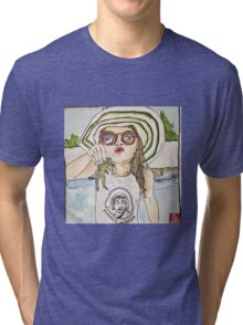 Girl with frog & shades Tri-blend T-Shirt