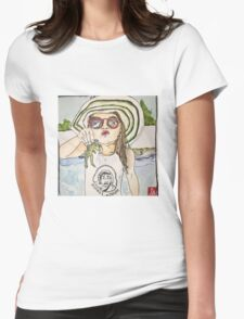 Girl with frog & shades Womens Fitted T-Shirt