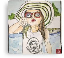 Girl with frog & shades Canvas Print