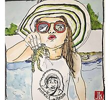 Girl with frog & shades Photographic Print
