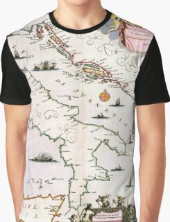 Vintage Map of Italy (17th Century) Graphic T-Shirt