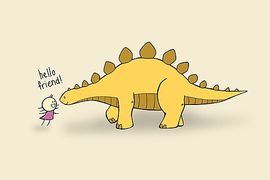 Hello Friend (Dinosaur) - two lof bees by Josh Bush