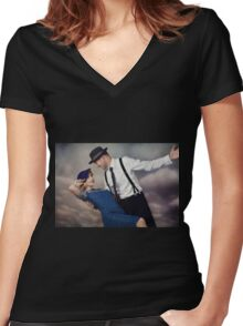 vintage couple No.2 Women's Fitted V-Neck T-Shirt