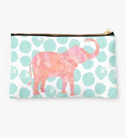 Coral Pink Elephant on Mint Green Dots Studio Pouch
