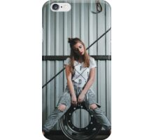 Pretty girl works  in the city streets iPhone Case/Skin