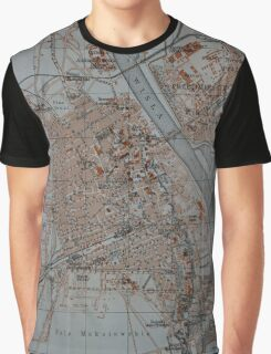Vintage Map of Warsaw Poland (1914) Graphic T-Shirt