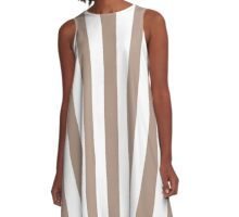Warm Taupe and White Large Vertical Cabana Tent Stripe A-Line Dress