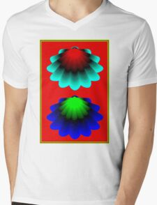 """""""WHIMSICAL 3D SHELLS"""" Abstract Psychedelic Print Mens V-Neck T-Shirt"""