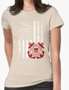 Coast Guard Shirt - Coast Guard with American Flag Shirt Womens Fitted T-Shirt
