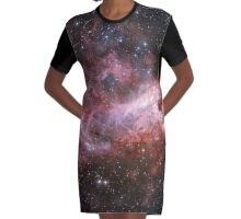 The Star Formation Region Messier 17 Graphic T-Shirt Dress
