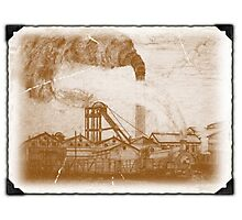 My pencil drawing of Frickley Colliery given an old photo effect Photographic Print