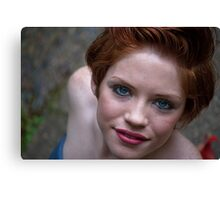 redhead woman portrait Smiling happy girl  Canvas Print