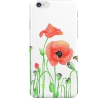 Red poppies and a bumblebee iPhone Case/Skin