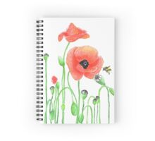 Red poppies and a bumblebee Spiral Notebook