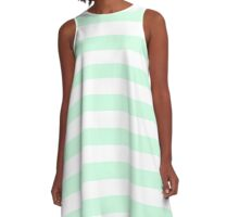 Summer Mint Green and White Large Horizontal Cabana Tent Stripe A-Line Dress