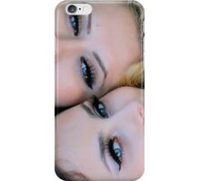two beautiful young woman's face looking at camera iPhone Case/Skin
