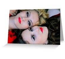 two beautiful young woman's face looking at camera Greeting Card