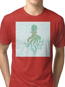 Olivia Octopus swimming ocean waves coastal art Tri-blend T-Shirt