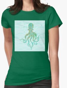 Olivia Octopus swimming ocean waves coastal art Womens Fitted T-Shirt