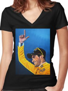 Alberto Contador painting Women's Fitted V-Neck T-Shirt