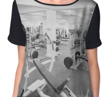 Black and White Weight Room Photograph Chiffon Top