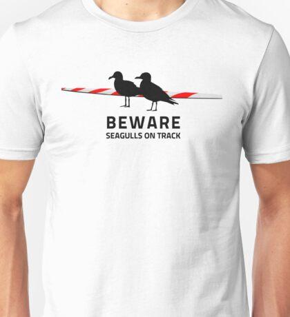 Beware, Seagulls on track Unisex T-Shirt