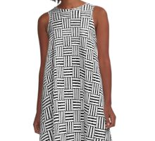 Solid Black and White Basket Weave A-Line Dress