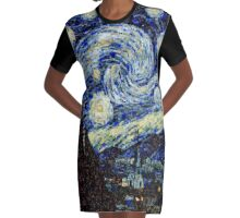 Vincent Van Gogh Starry Nights Photo Mosaic Graphic T-Shirt Dress