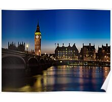 Westminster Bridge and Big Ben At Night Poster