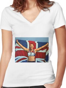 Jessica Ennis painting Women's Fitted V-Neck T-Shirt