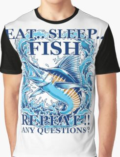 Fishing T-Shirt Eat Sleep Fish Repeat Graphic T-Shirt