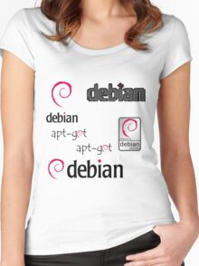 debian operating system linux sticker set Women's Fitted Scoop T-Shirt