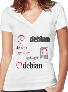 debian operating system linux sticker set Women's Fitted V-Neck T-Shirt