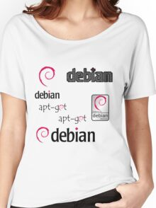 debian operating system linux sticker set Women's Relaxed Fit T-Shirt