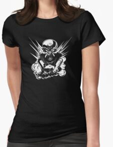 B&W metal skull with cartoon engine Womens Fitted T-Shirt